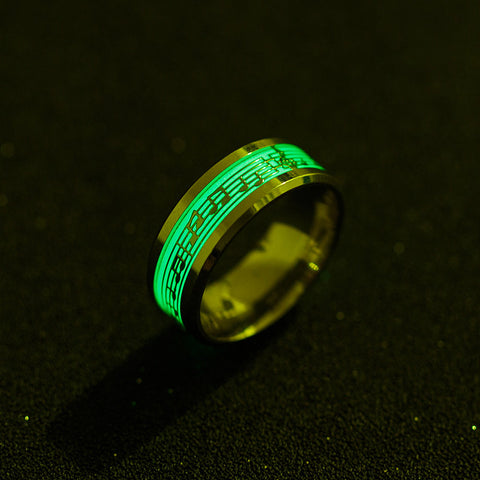 Stainless Steel Music Stave Luminous Ring for Men Women Creative Glow in Dark Wedding Band Cool Wedding Rings Jewelry
