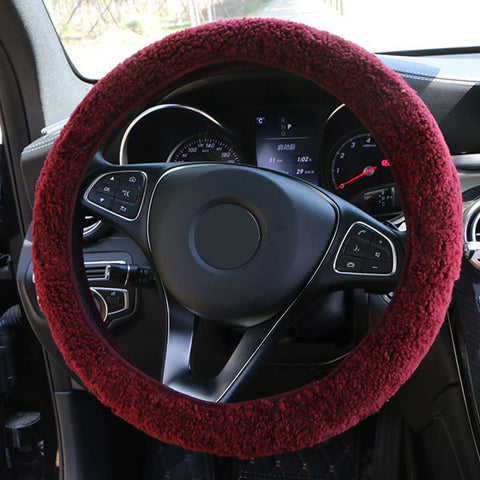 SheepSkin Wool Steering Wheel Cover/Cahsmere handlebar braid on the steering-wheel with Anti-skid base fabric