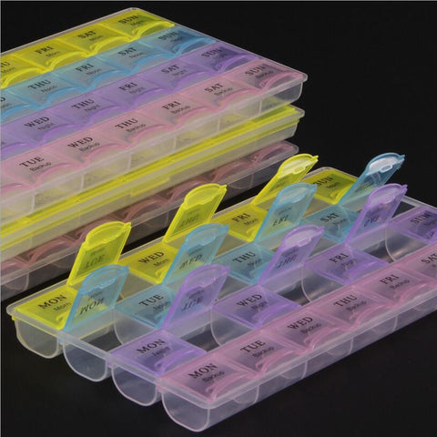 28 Squares Pill Box Weekly 7 Days Tablet Holder Medicine Storage