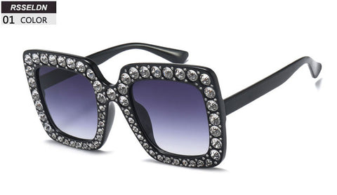 RSSELDN High Quality Rhinestone Sunglasses Women Luxury Brand Bla