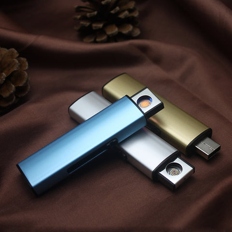 USB Electronic Lighter Rechargeable Cigarette Lighter Windproof Plasma ARC Lighter Encendedor Smoking Gadgets For man No Gas