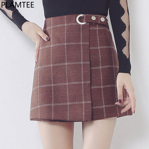 PLAMTEE Vintage Women Skirts Skinny Plaid Mini Skirt Female Autum