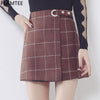 Image of PLAMTEE Vintage Women Skirts Skinny Plaid Mini Skirt Female Autum
