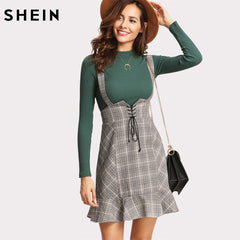 SHEIN Skirts Womens High Waist Woman Skirt Autumn Winter Lace Up