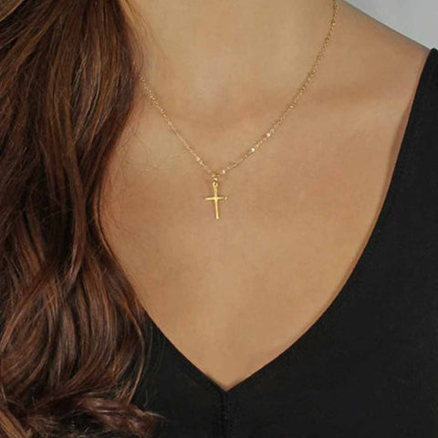 Summer Gold Chain Cross Necklace Small Gold Cross Religious Jewel