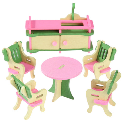 Mini Wooden Simulation Dollhouse Furniture Set Kids Children Educ