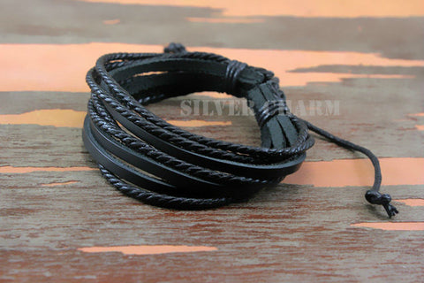 Bracelets & Bangles for Men and Women Black and Brown Braided Rop