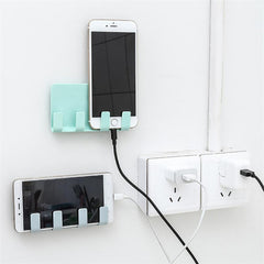 Practical Wall sticking Phone Charging Holder Socket Strong Sticky Adhesive Charge Up Cell Phones Sopport Rack Shelf with Hooks
