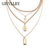 Image of Style Multi Chain Necklace Minimalist Gold Silver Color Vintage C