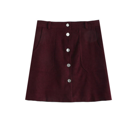 ROMWE Single Breasted Dual Pocket Skirt 2018 Spring Plain Burgund