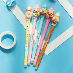 Coloffice 1pc kawaii Donuts  Erasable pen Cartoon doll rubbing ge
