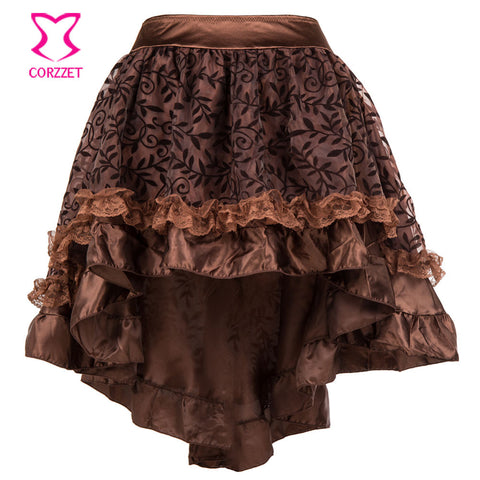 s-6XL Brown Asymmetrical Floral Tulle Ruffled Satin & Lace Trim G