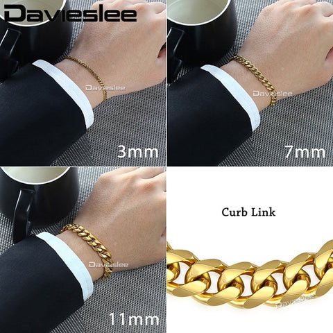 Mens Bracelet Chain Stainless Steel Polished Silver Gold
