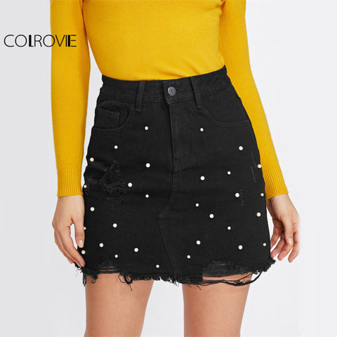 COLROVIE Pearl Detail Ripped Skirt Women Black Cut Hem Cute Denim