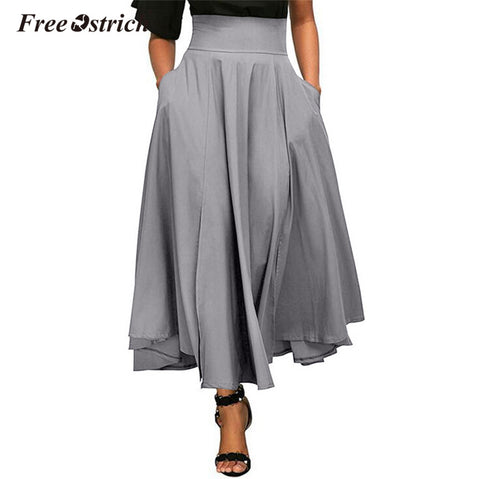 Free Ostrich High Waist Skirts Women Black Bow A-Line Pockets Zip