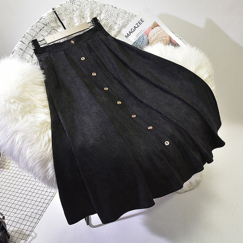 Sherhure 2018 High Quality Women Suede Skirt Long Pleated Skirts