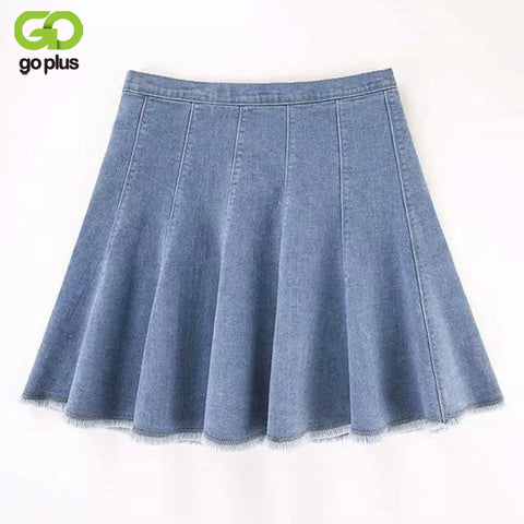 GOPLUS Fashion Mini Skirt Women 2018 New Korean Blue Slim High Wa