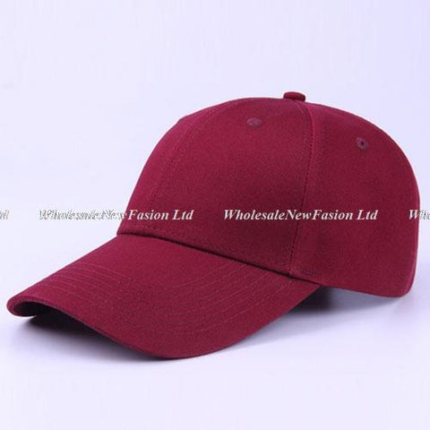 6pcs Classic Plain Red Cotton Baseball Caps 2018 Brand Men Blank