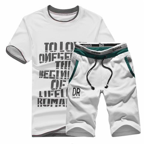 2018 New Men T Shirt Sets Letter Printed Summer Suits Casual Tracksuits Brand Clothing