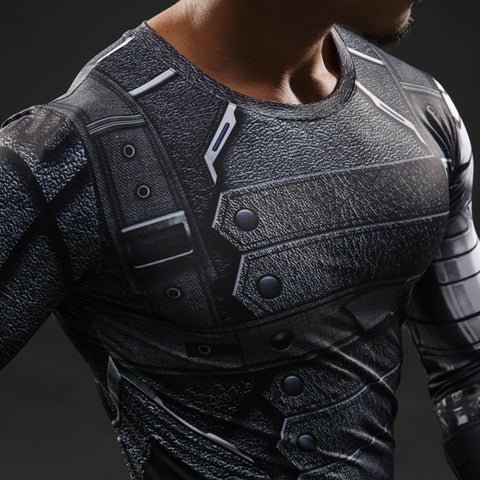Black leopard 3D Printed Superhero Winter Soldier Men T Shirt Fitness Crossfit T-Shirt Long Sleeve Compression Shirt Mens Tops
