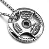 Image of HIP Hop Barbell Sheet Necklaces Gold-color Titanium Stainless Steel Creative Force Fitness Sport Pendants for Men Gym Jewelry