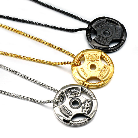 HIP Hop Barbell Sheet Necklaces Gold-color Titanium Stainless Steel Creative Force Fitness Sport Pendants for Men Gym Jewelry