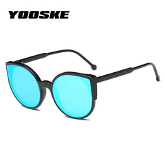 YOOSKE Women Cat Eye Sunglasses  Fashion Coating Mirror Sexy Cate