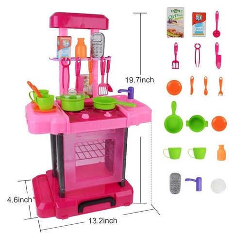 Simulation kitchen kitchen cutlery educational toys suitcase chil