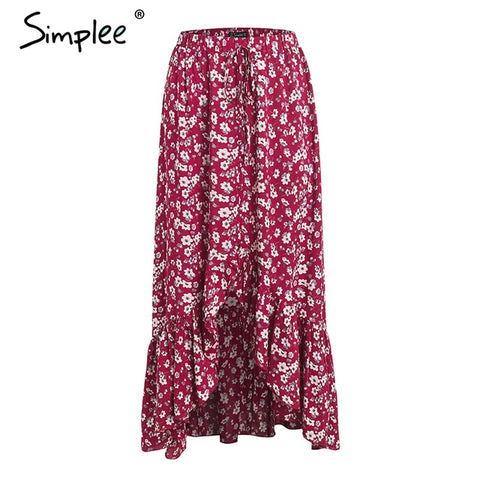 Simplee Floral print red boho long skirt Women mermaid high waist