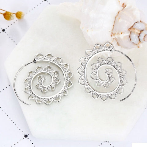 Fashion Hollow Swirl Hoop Gypsy Indian Tribal Bohemian Earrings for women Boho Spiral Jewelry
