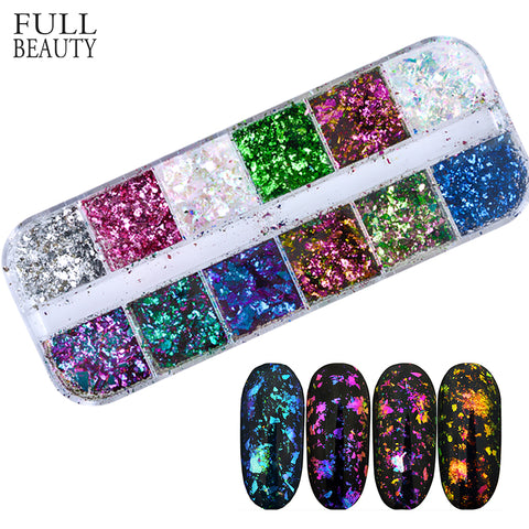 Full Beauty 12 Color Dazzling Sparkly Nail Sequins Chameleon Irregular Mirror Glitter Powder
