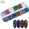Image of Full Beauty 12 Color Dazzling Sparkly Nail Sequins Chameleon Irregular Mirror Glitter Powder