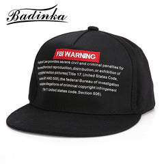 Brand Baseball Cap Men Snapback Cap Hat Women FBI WARNING Base Ba