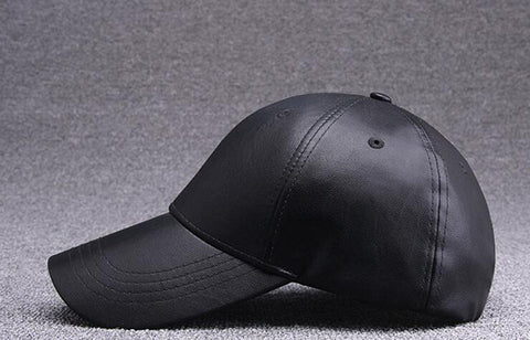 6pcs COOL Men Blank PU Leather Black Baseball Caps Snap Back for