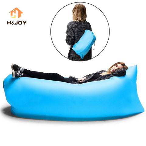 Lazy Inflatable Sofa Camping Outdoor Air Sleep Sofa Banana Shape Beach Lay Bag Couch Portable Furniture Big Living Air Lounger