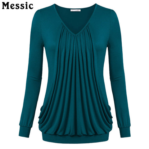 Messic Ruched Cotton Long Sleeve T shirt Women Casual Loose Pleat