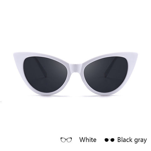 QUDDA cute sexy retro cat eye sunglasses women small black white