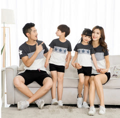 Family Matching Outfits Summer Tshirt Star Short Sleeve Clothes E