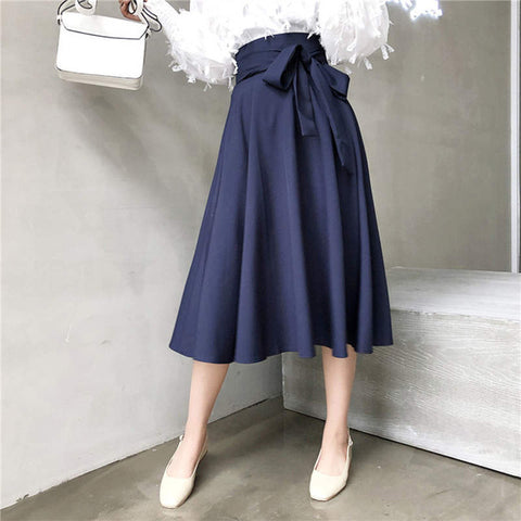 RUGOD 2018 Elegant Korean Style Bow Tie Pleated Skirt Women Casua