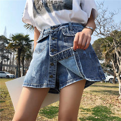 RUGOD 2018 Fashion Fake Skirt Shorts A-Line Mini Jeans Skirt Slim
