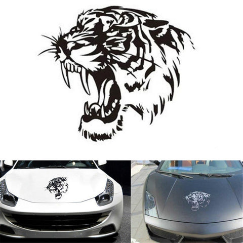 DEDC Reflective Car Sticker Decals TIGER Head Hood Tiger Car Stic