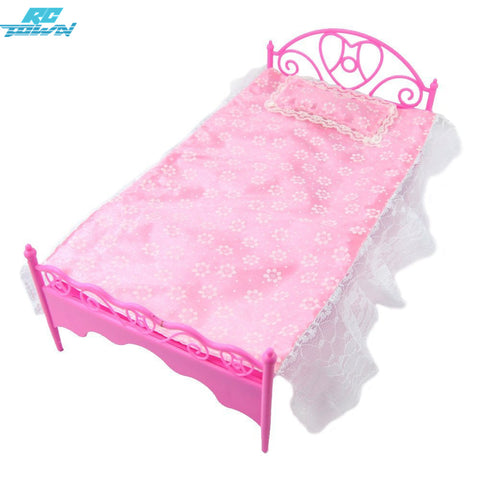 RCtown Pink Mini Bed With Pillow for Barbie Dolls Dollhouse Bedro