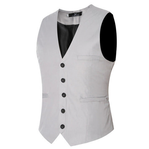Plus Size 6XL Men's Suit Vest Fashion Solid Slim Fit Wedding Waistcoat Sleeveless Men Dress Vests