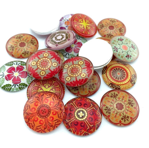 ZEROUP 10pcs/lot 20mm 25mm round pattern glass cabochon,mixed pat