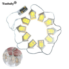Tanbaby Warm White Wood House Shaped Led String Lights for Indoor
