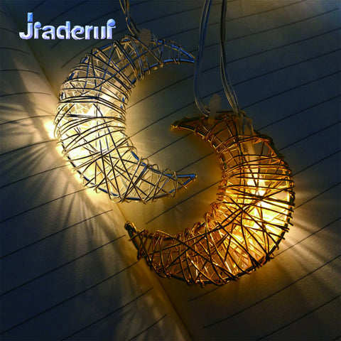 Jiaderui Lron Wire Moon Garland String Light 1.6m 10 LEDs Decorat