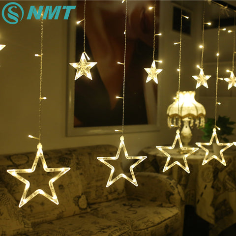 AC110V Holiday Lighting 138 LED Fairy Star Curtain String luminar