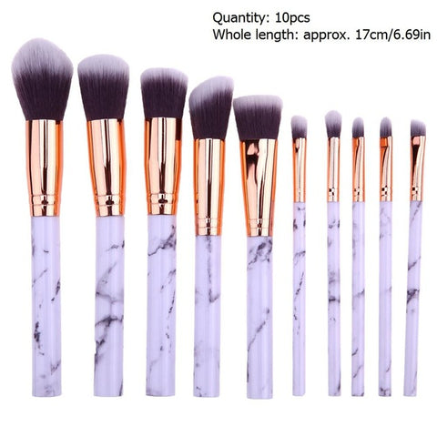 10pcs Marble Patten Makeup Brush for Cosmetic Powder Foundation E