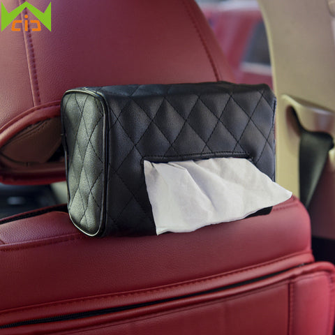 Leather Tissue Box Pumping Paper Cover  Car Sun Visor Hanging Cas