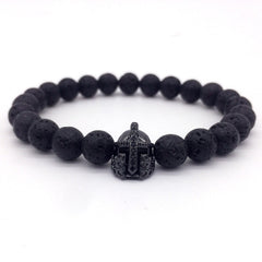 Lava Stone Pave CZ Imperial Crown And Helmet Charm Bracelet For M